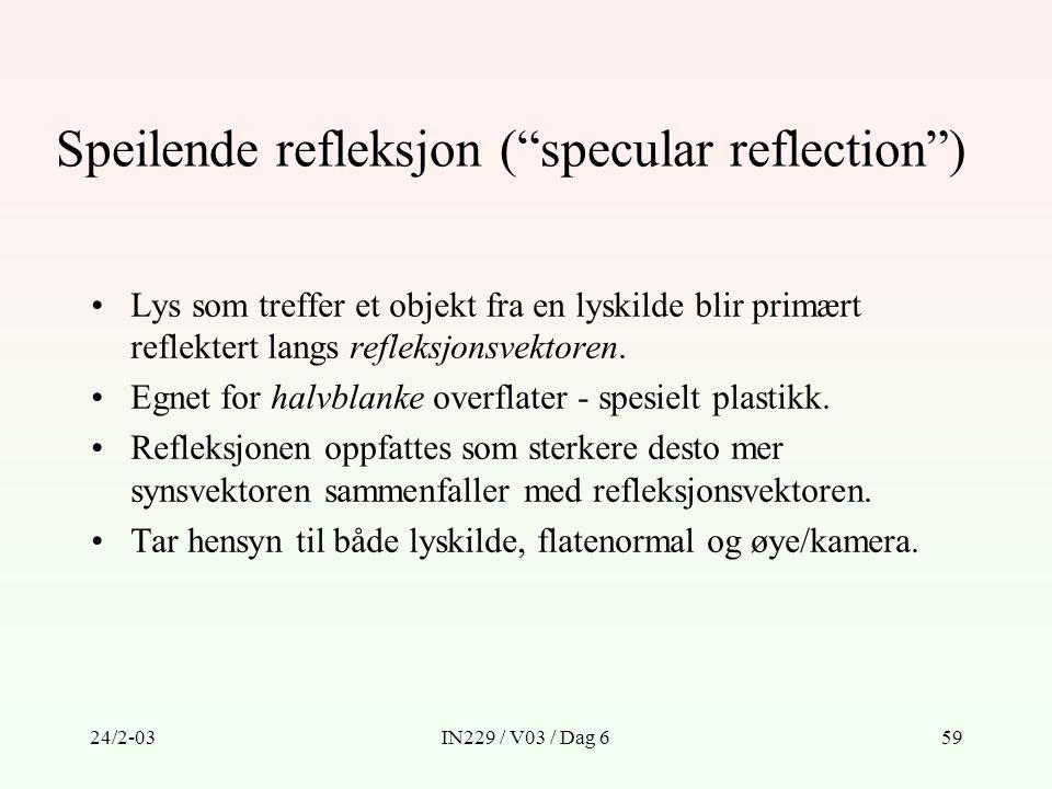 Speilende refleksjon ( specular reflection )