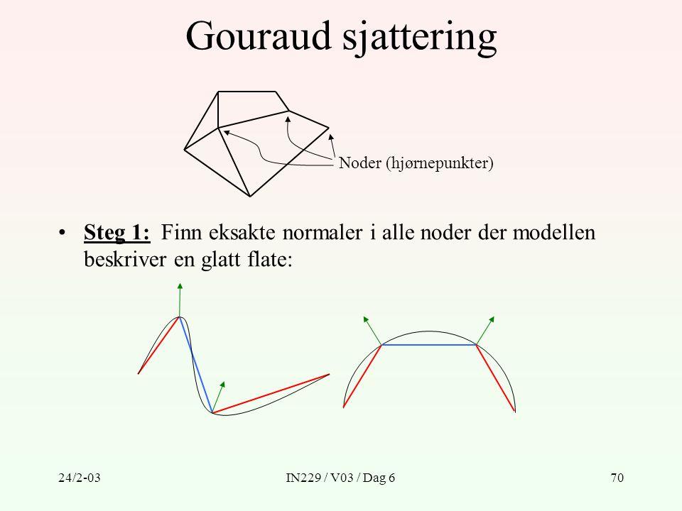 Gouraud sjattering Noder (hjørnepunkter) Steg 1: Finn eksakte normaler i alle noder der modellen beskriver en glatt flate: