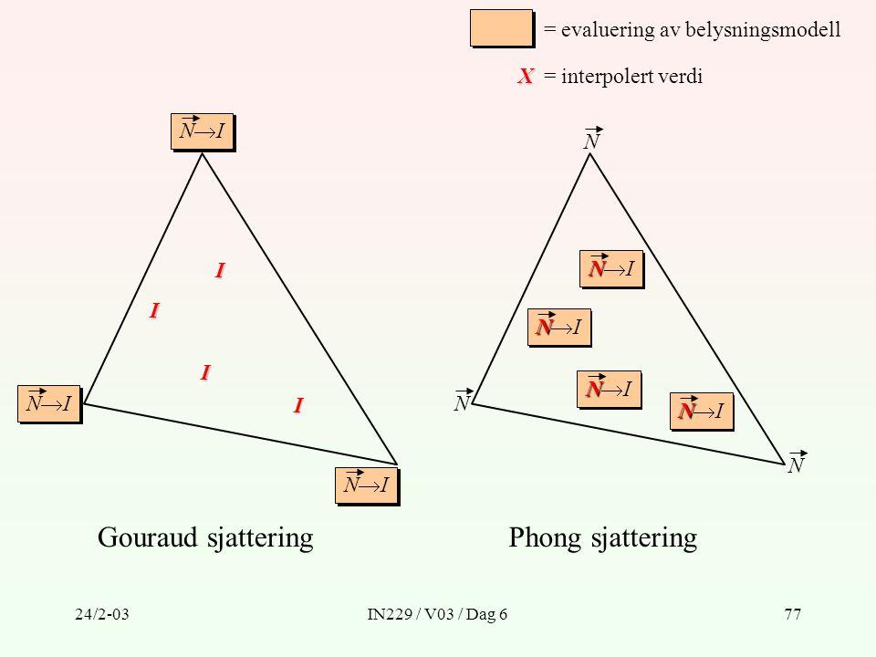 Gouraud sjattering Phong sjattering = evaluering av belysningsmodell X