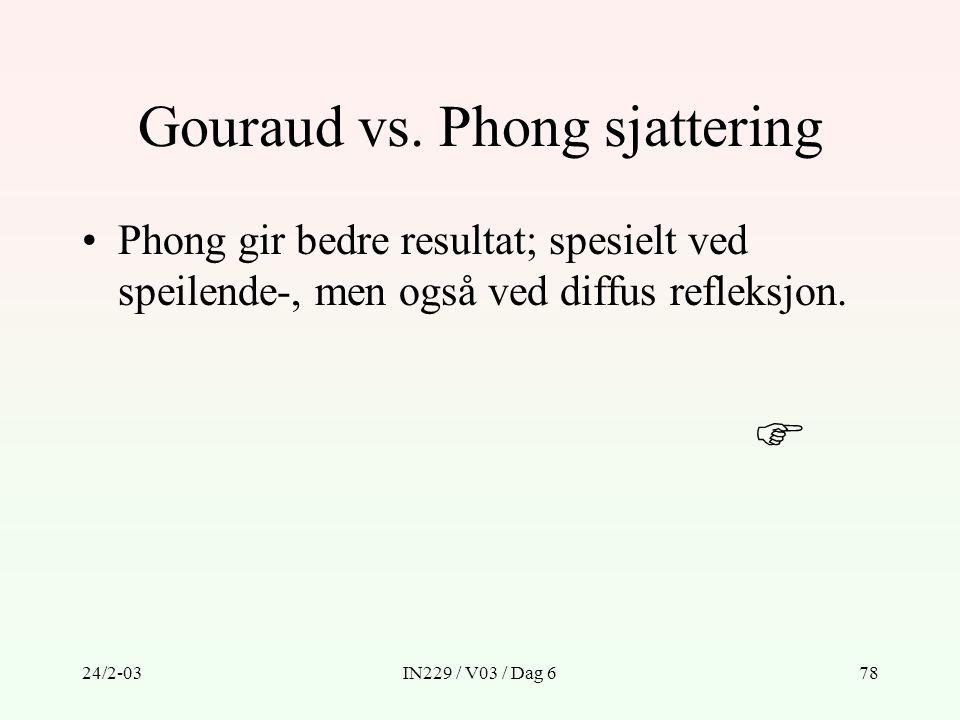 Gouraud vs. Phong sjattering