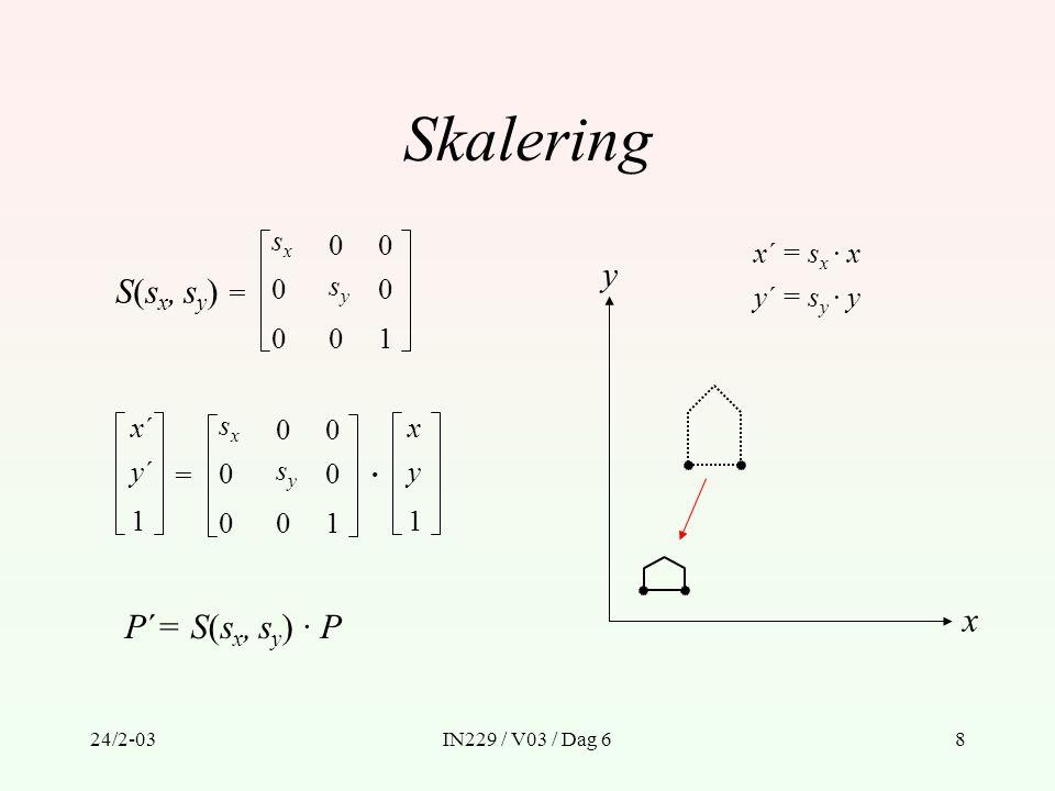 Skalering y S(sx, sy) = x P´= S(sx, sy) · P sx x´ = sx · x sy