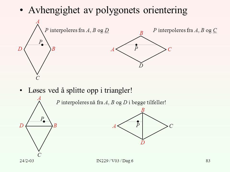 Avhengighet av polygonets orientering