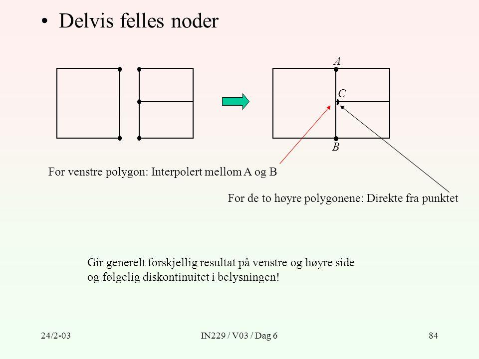 Delvis felles noder A C B