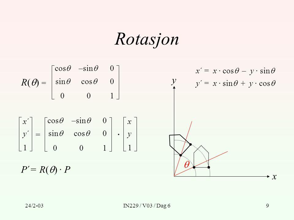 Rotasjon y R() =  P´= R() · P x cos –sin x´ = x · cos – y · sin