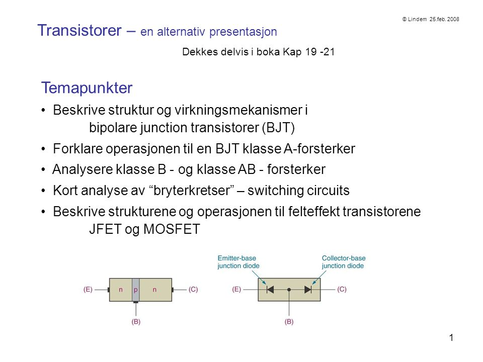 Transistorer – en alternativ presentasjon