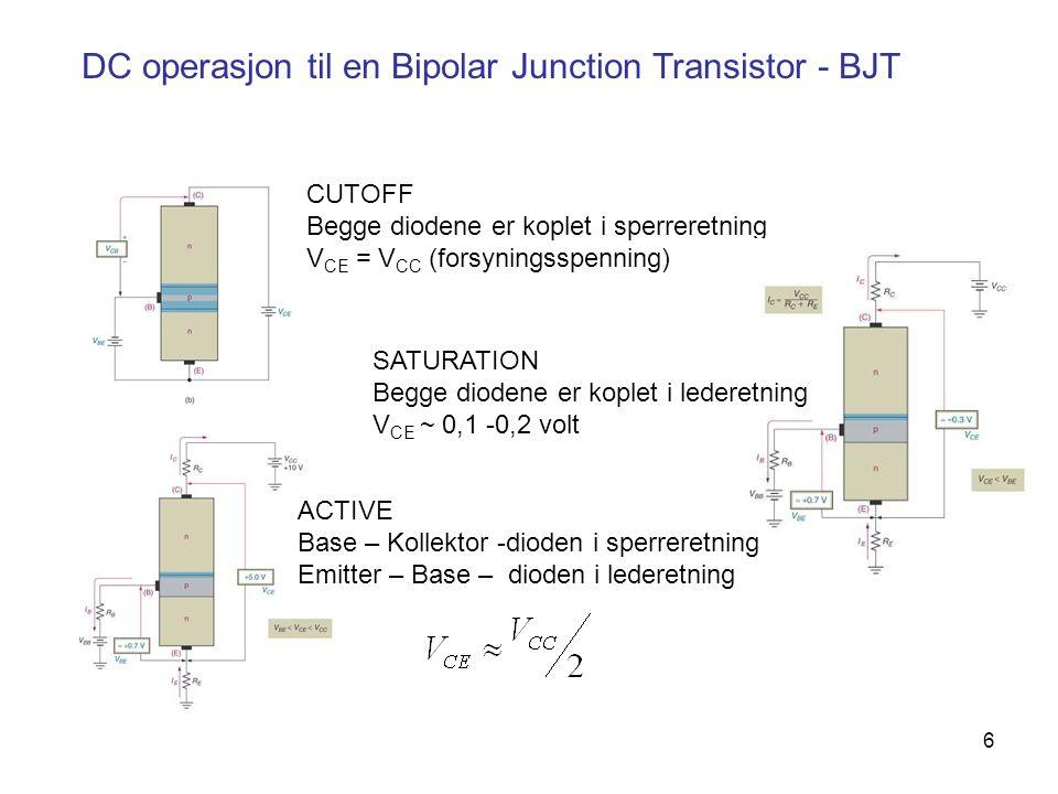 DC operasjon til en Bipolar Junction Transistor - BJT