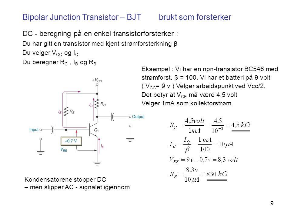 Bipolar Junction Transistor – BJT brukt som forsterker
