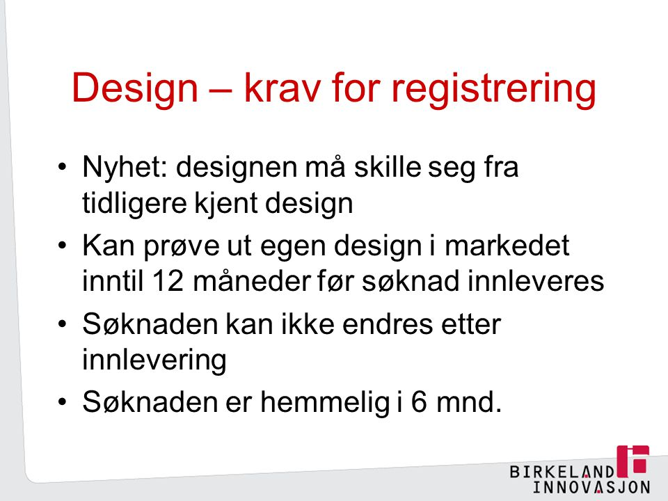 Design – krav for registrering