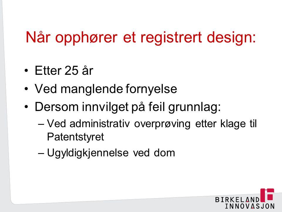 Når opphører et registrert design: