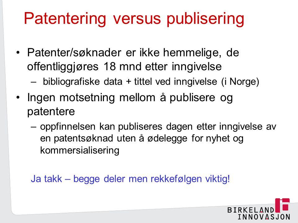 Patentering versus publisering
