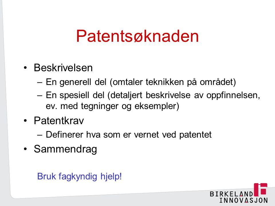 Patentsøknaden Beskrivelsen Patentkrav Sammendrag