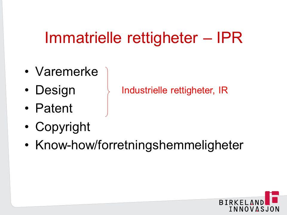Immatrielle rettigheter – IPR