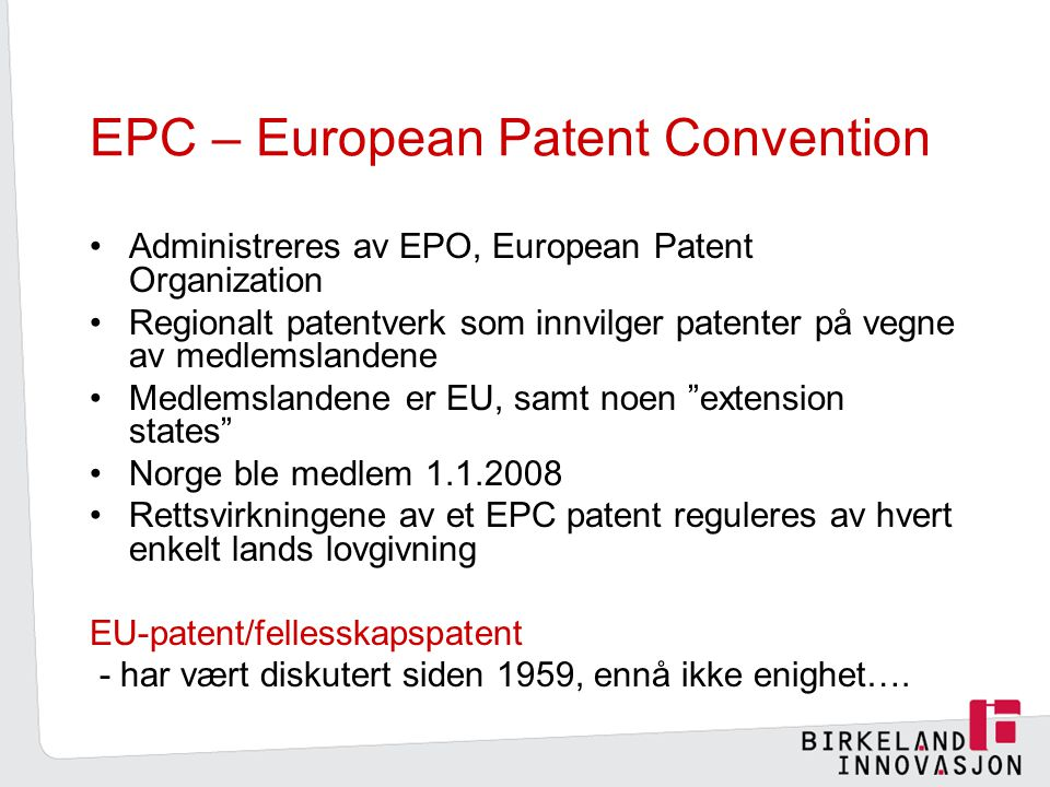 EPC – European Patent Convention