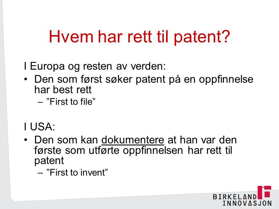 Hvem har rett til patent