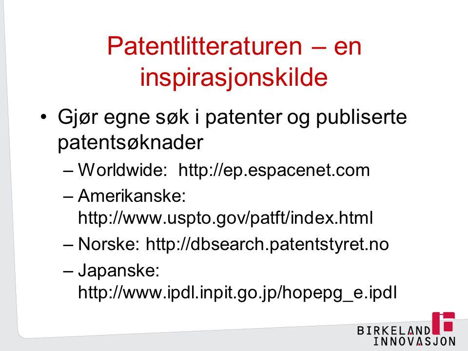 Patentlitteraturen – en inspirasjonskilde