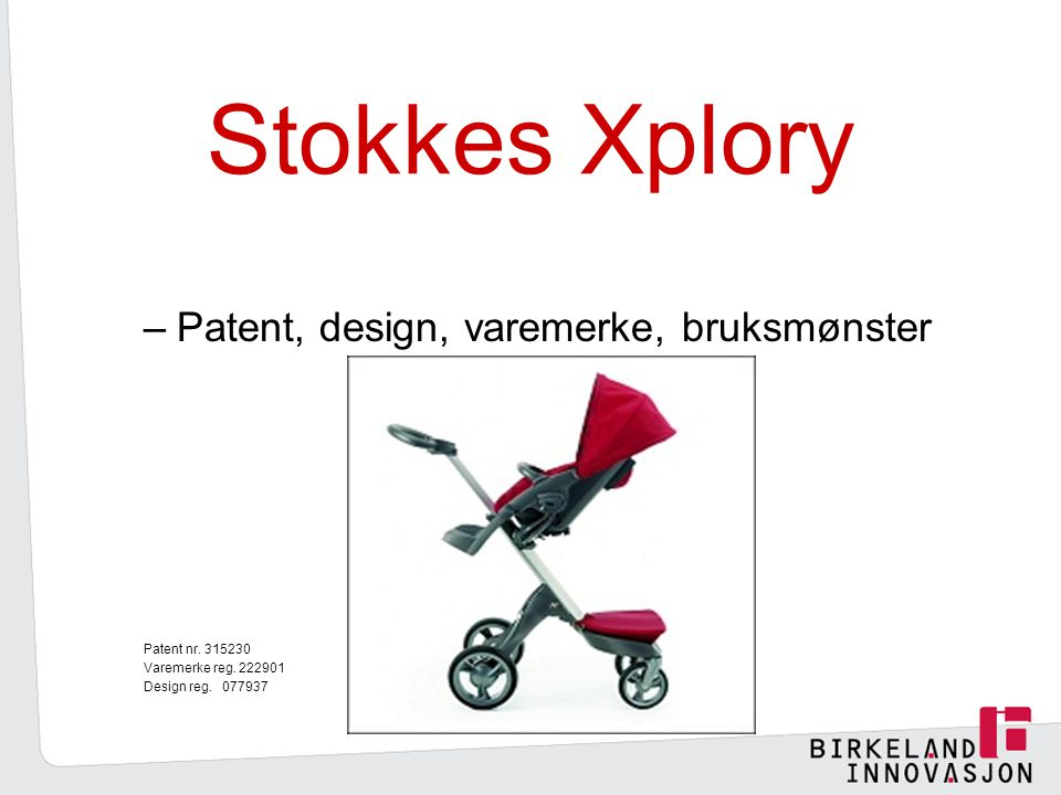Stokkes Xplory Patent, design, varemerke, bruksmønster