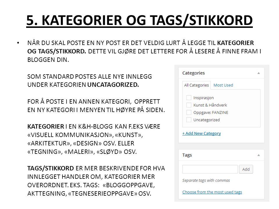 5. KATEGORIER OG TAGS/STIKKORD