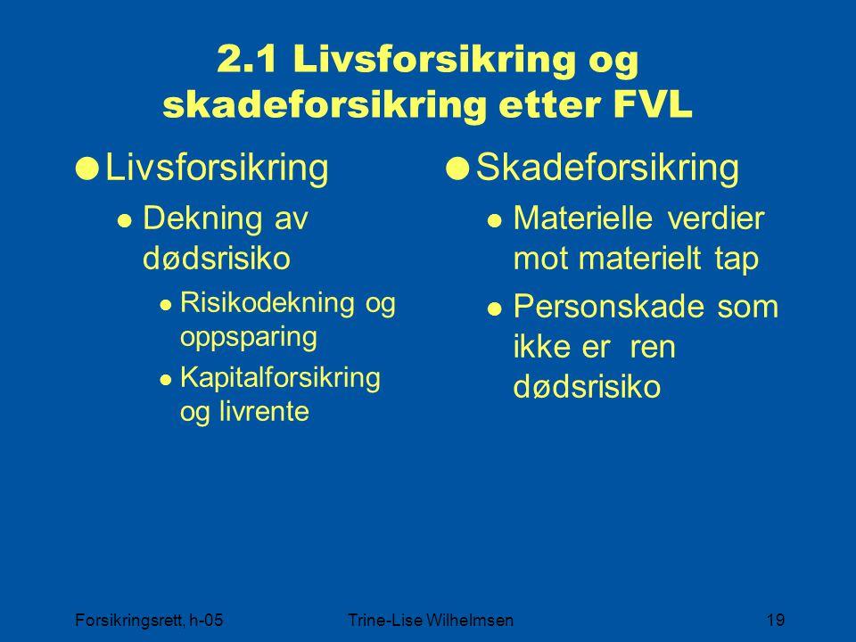 2.1 Livsforsikring og skadeforsikring etter FVL