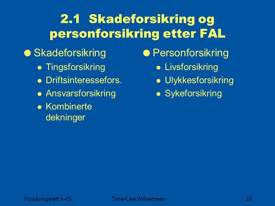 2.1 Skadeforsikring og personforsikring etter FAL