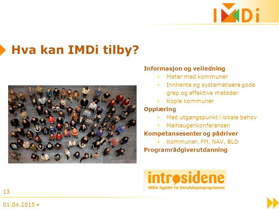 Hva kan IMDi tilby Informasjon og veiledning Møter med kommuner