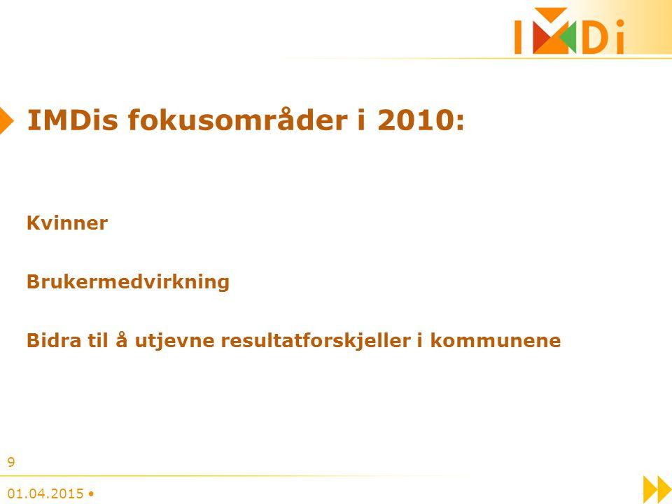 IMDis fokusområder i 2010: Kvinner Brukermedvirkning Bidra til å utjevne resultatforskjeller i kommunene