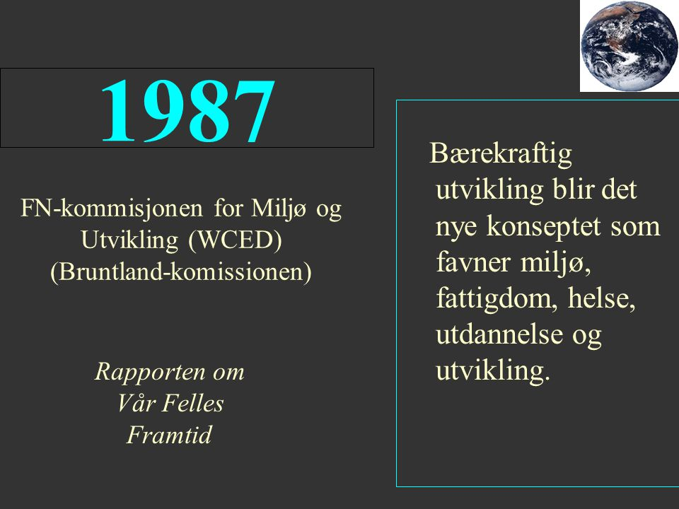 FN-kommisjonen for Miljø og Utvikling (WCED) (Bruntland-komissionen)