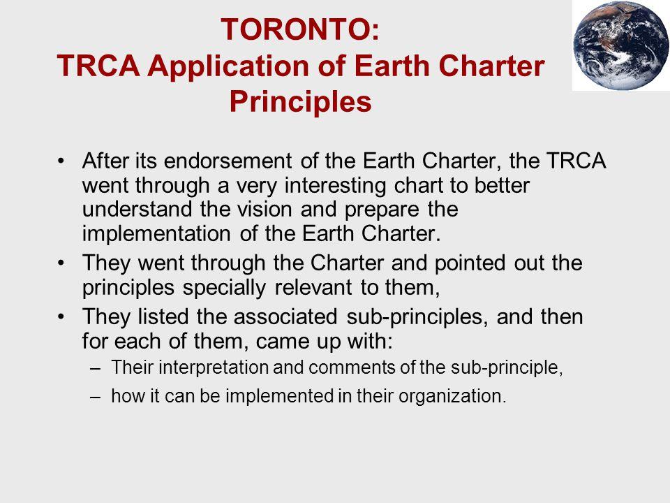 TORONTO: TRCA Application of Earth Charter Principles