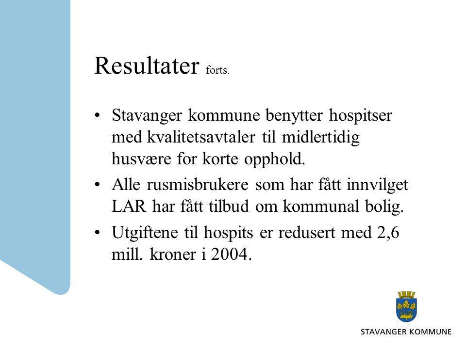 Resultater forts. Stavanger kommune benytter hospitser med kvalitetsavtaler til midlertidig husvære for korte opphold.