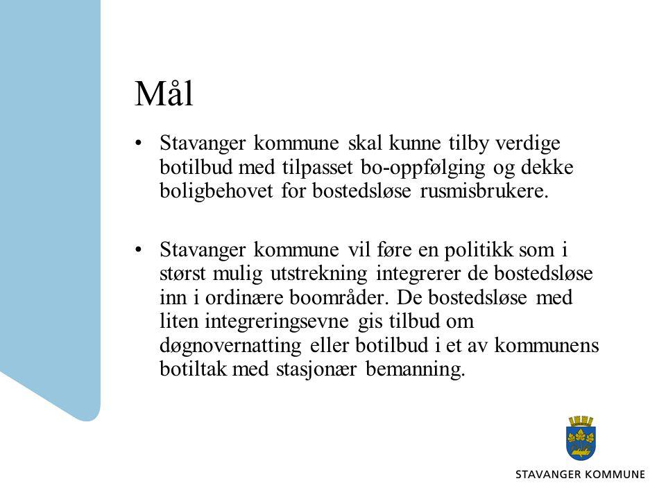 Mål Stavanger kommune skal kunne tilby verdige botilbud med tilpasset bo-oppfølging og dekke boligbehovet for bostedsløse rusmisbrukere.