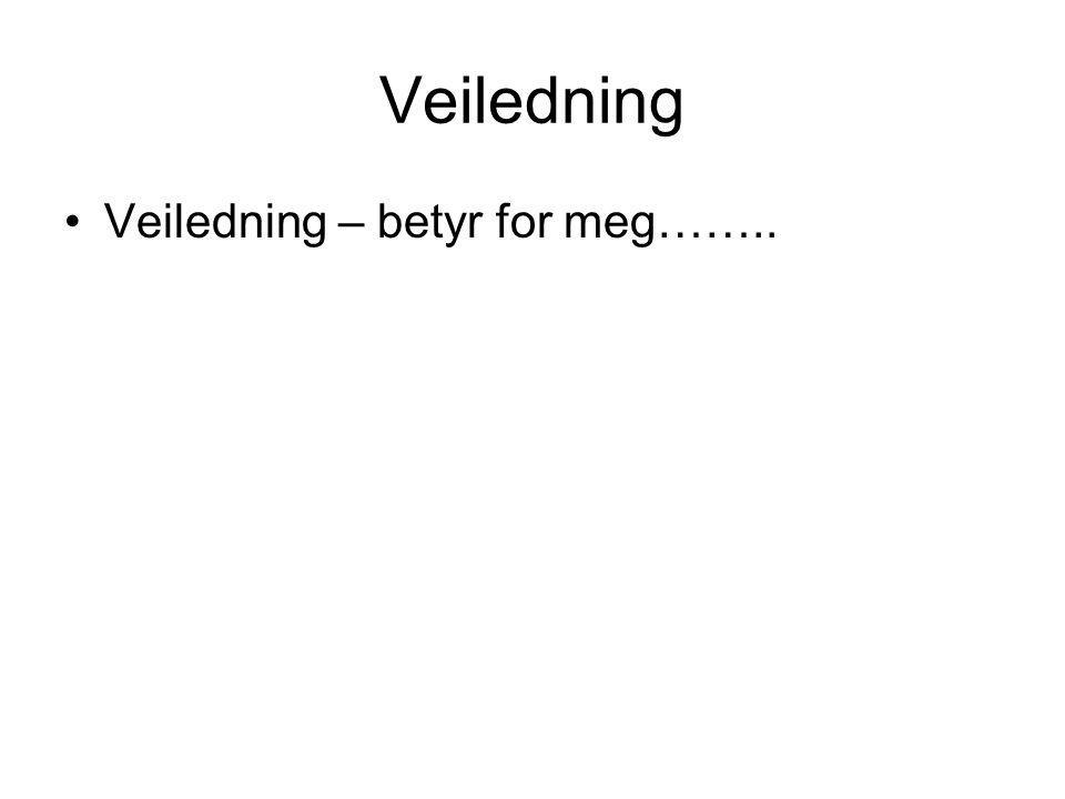 Veiledning Veiledning – betyr for meg……..