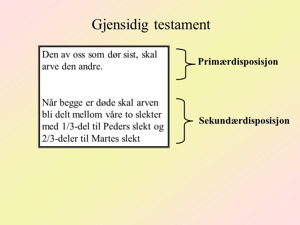Gjensidig testament Den av oss som dør sist, skal arve den andre.