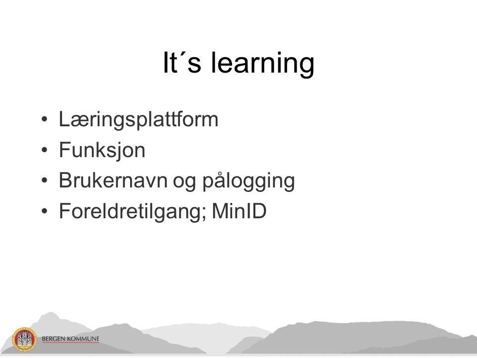 It´s learning Læringsplattform Funksjon Brukernavn og pålogging