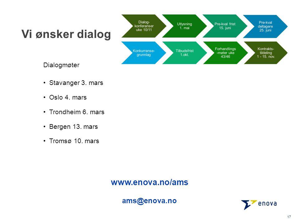 Vi ønsker dialog www.enova.no/ams ams@enova.no Dialogmøter