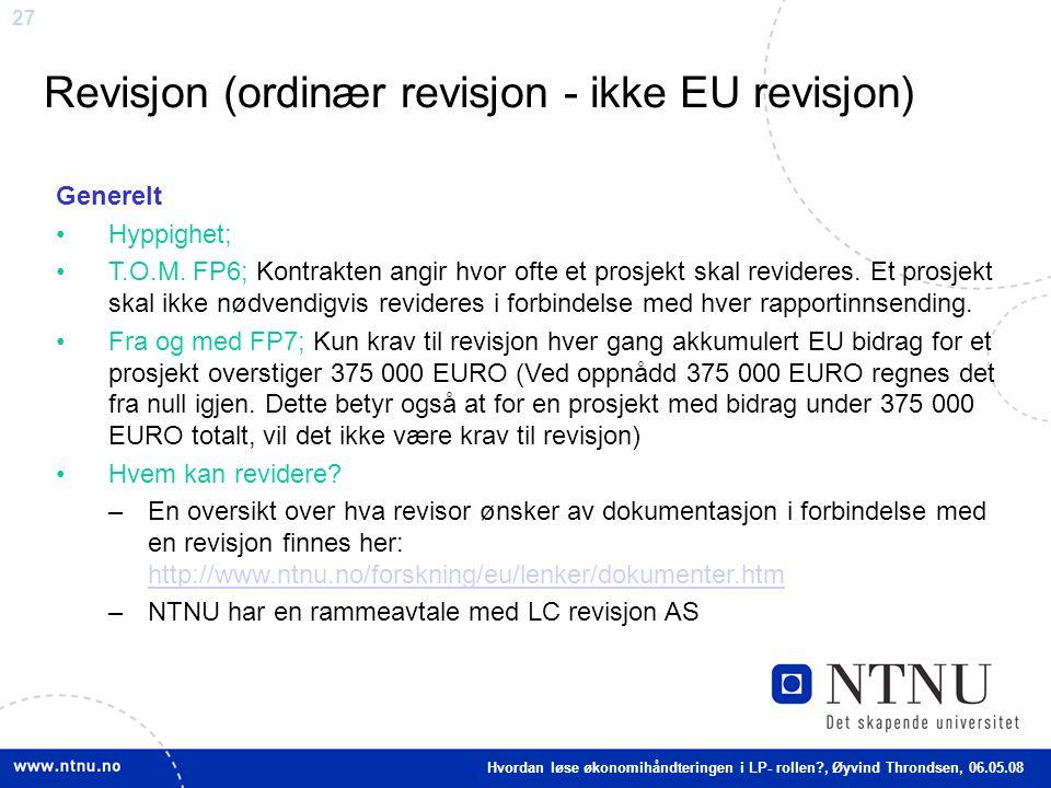 Revisjon (ordinær revisjon - ikke EU revisjon)