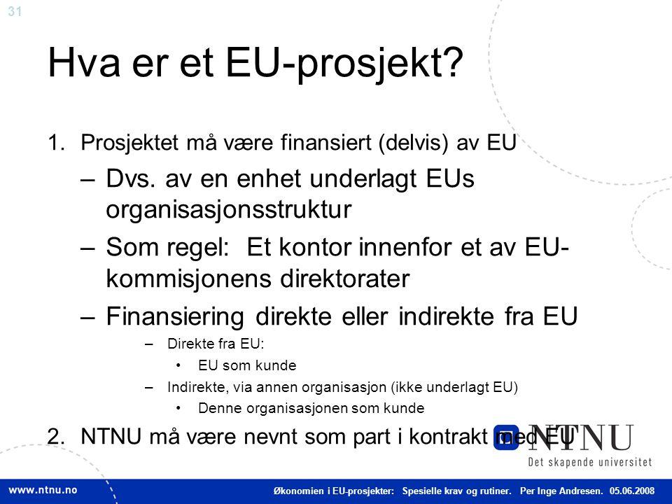 Hva er et EU-prosjekt Prosjektet må være finansiert (delvis) av EU. Dvs. av en enhet underlagt EUs organisasjonsstruktur.
