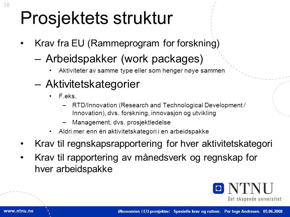 Prosjektets struktur Arbeidspakker (work packages)