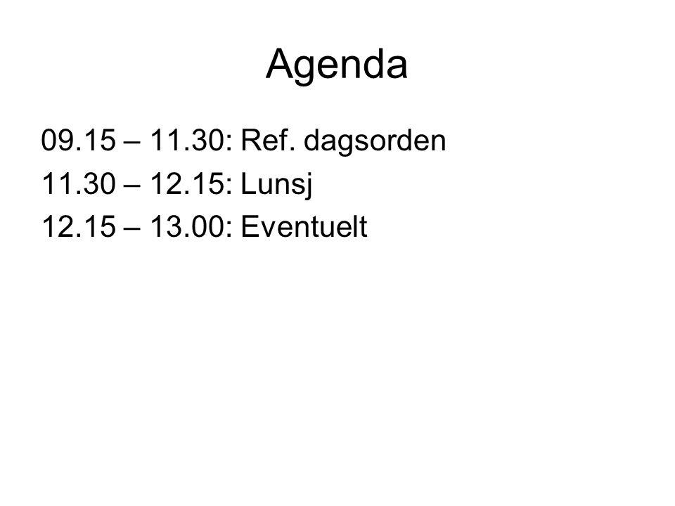 Agenda 09.15 – 11.30: Ref. dagsorden 11.30 – 12.15: Lunsj