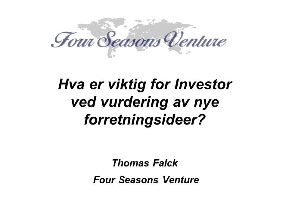 Thomas Falck Four Seasons Venture