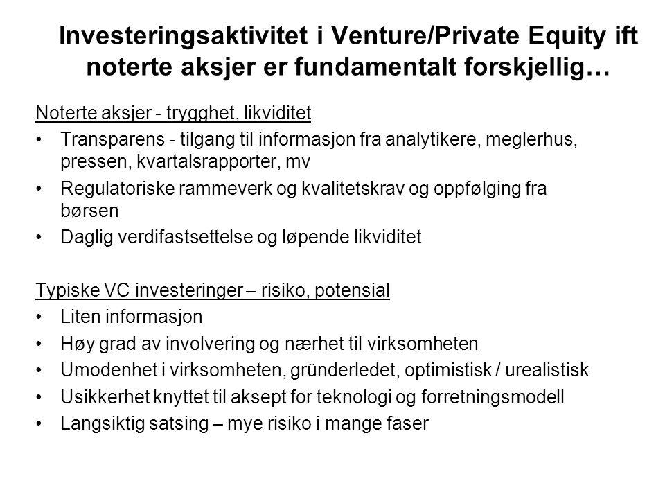 Investeringsaktivitet i Venture/Private Equity ift noterte aksjer er fundamentalt forskjellig…