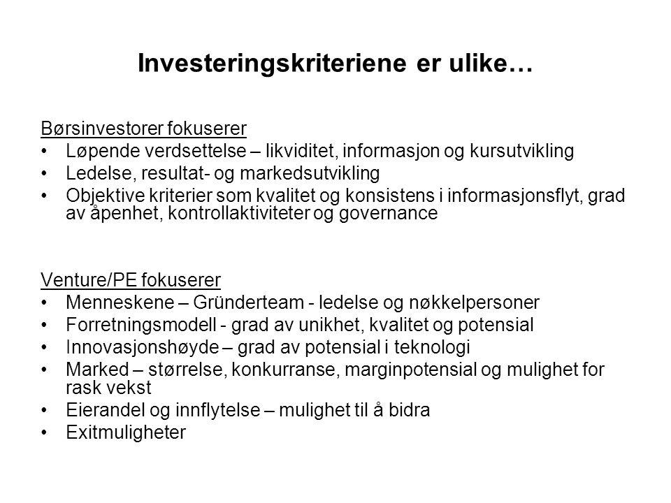 Investeringskriteriene er ulike…