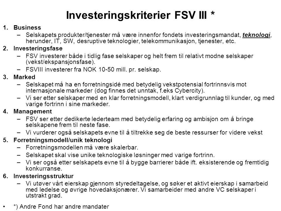 Investeringskriterier FSV III *