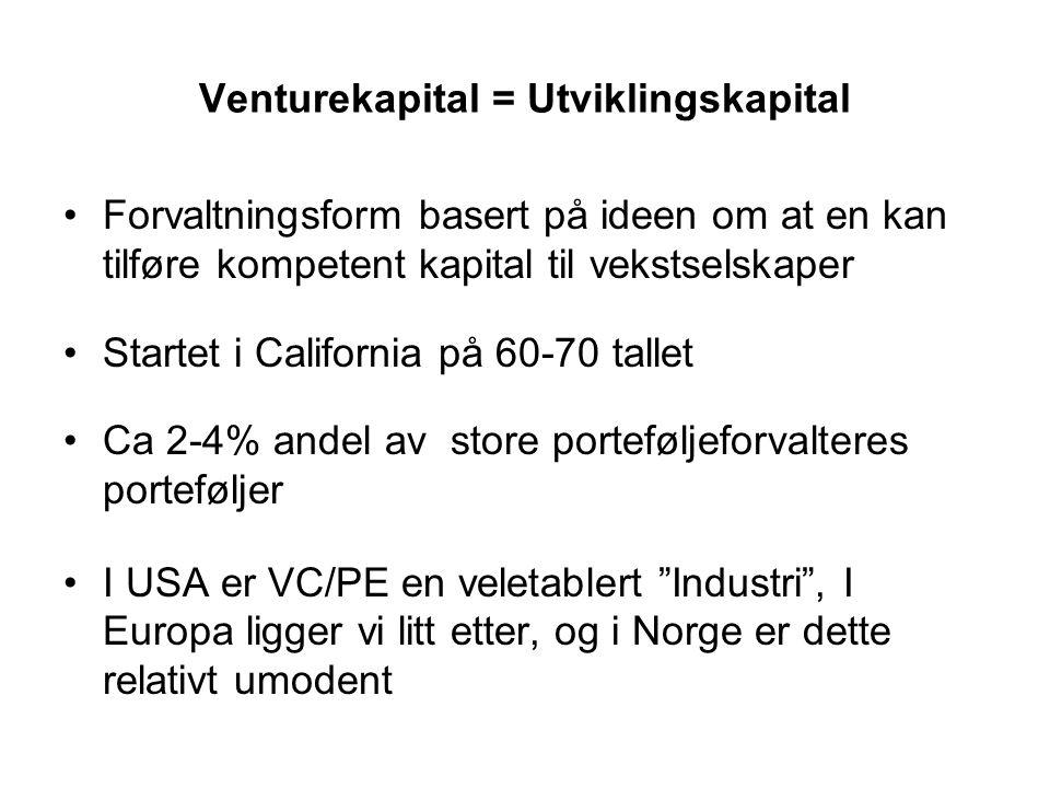 Venturekapital = Utviklingskapital