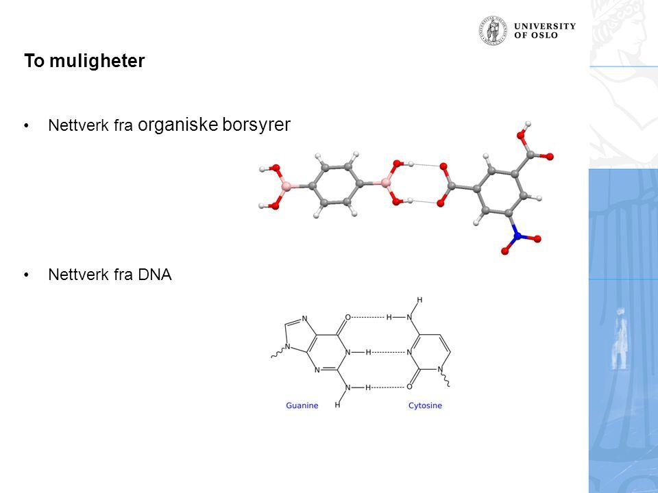 To muligheter Nettverk fra organiske borsyrer Nettverk fra DNA
