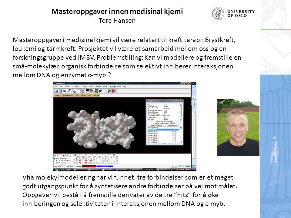 Masteroppgaver innen medisinal kjemi