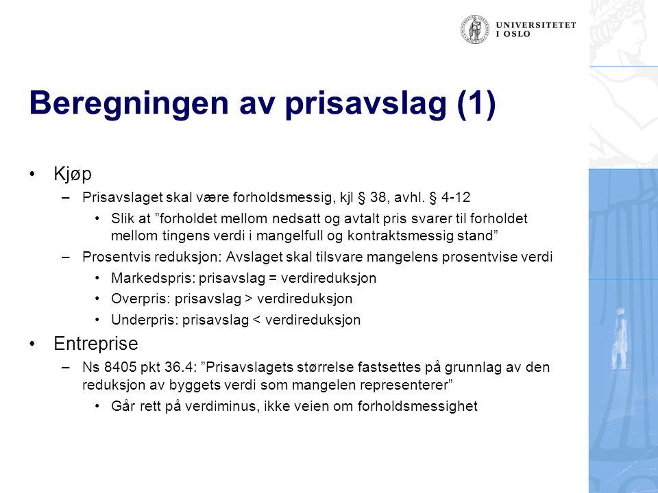 Beregningen av prisavslag (1)