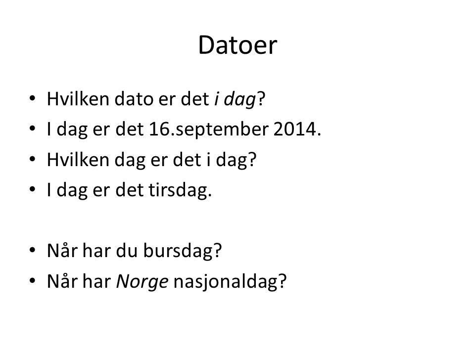 Datoer Hvilken dato er det i dag I dag er det 16.september 2014.