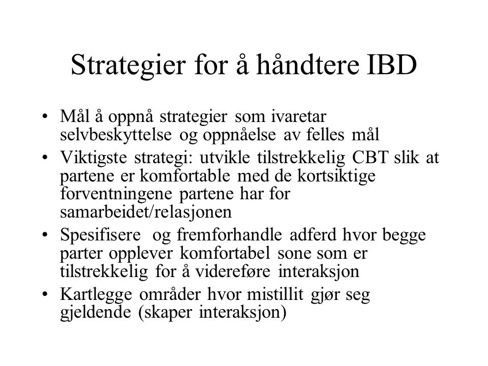 Strategier for å håndtere IBD