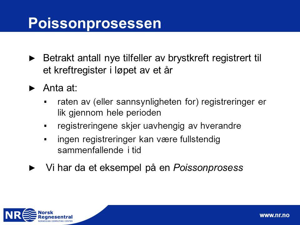 Poissonprosessen Betrakt antall nye tilfeller av brystkreft registrert til et kreftregister i løpet av et år.