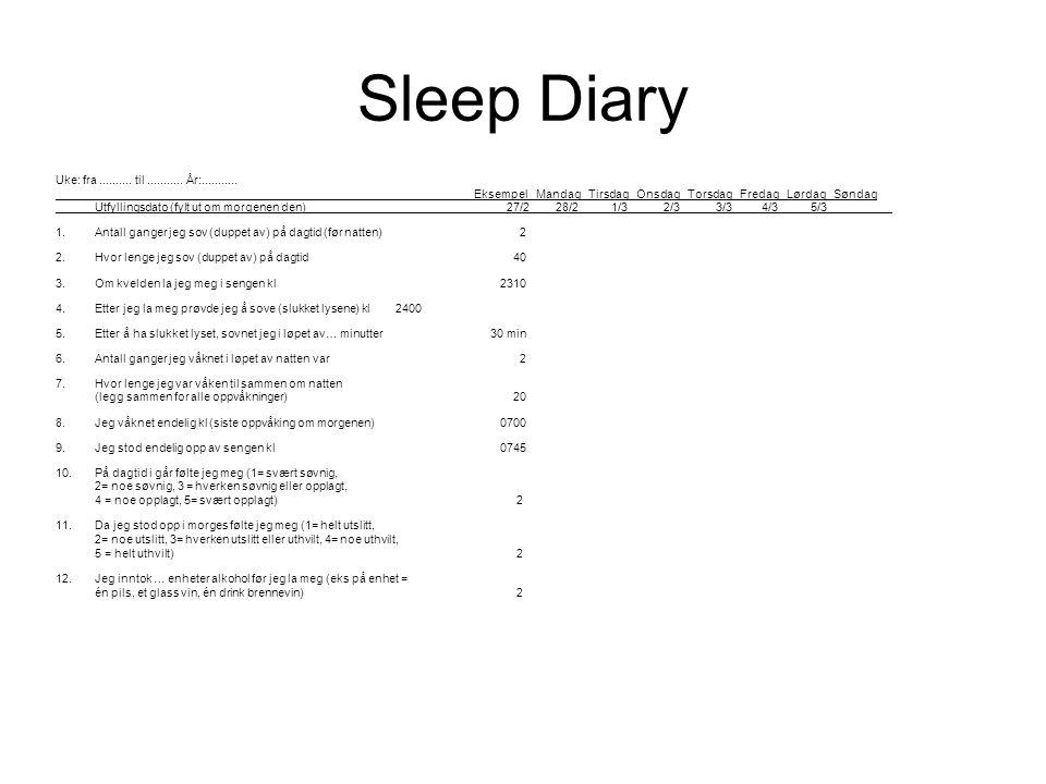 Sleep Diary Uke: fra .......... til ........... År:...........