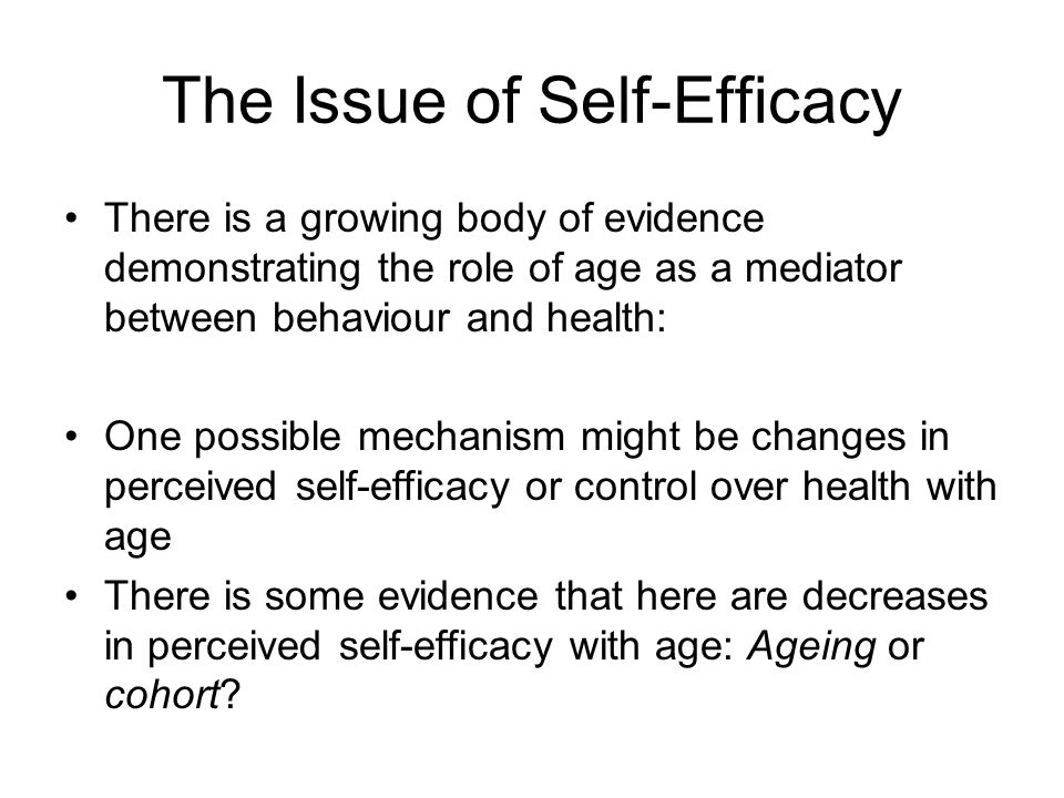 The Issue of Self-Efficacy